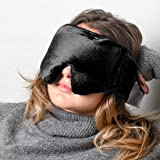 Huggaroo Weighted Eye Mask with Microwavable Hot Pack and Gel Ice Pack Inserts, Unscented, Black