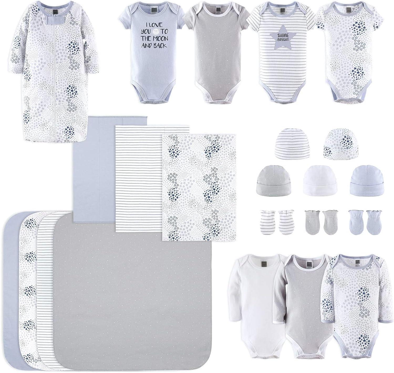The Peanutshell Newborn Layette Gift Set for Baby Boys or Girls | 23 Piece Gender Neutral Newborn Clothes & Accessories Set in Blue, Grey