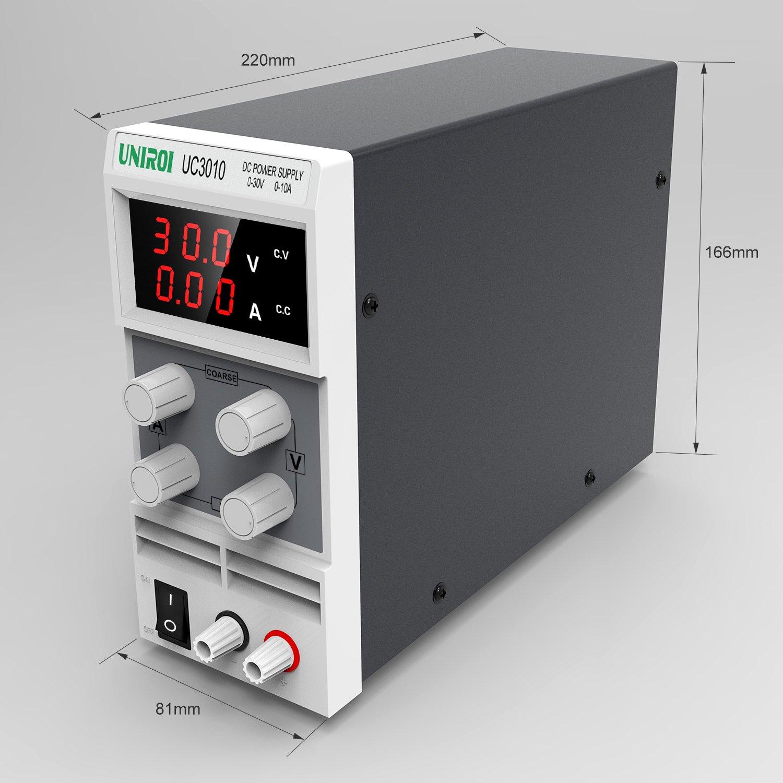 Alimentatore da Banco UNIROI Alimentatore da Laboratorio CC Regolabile Stabilizzato 0-10A//0-30V