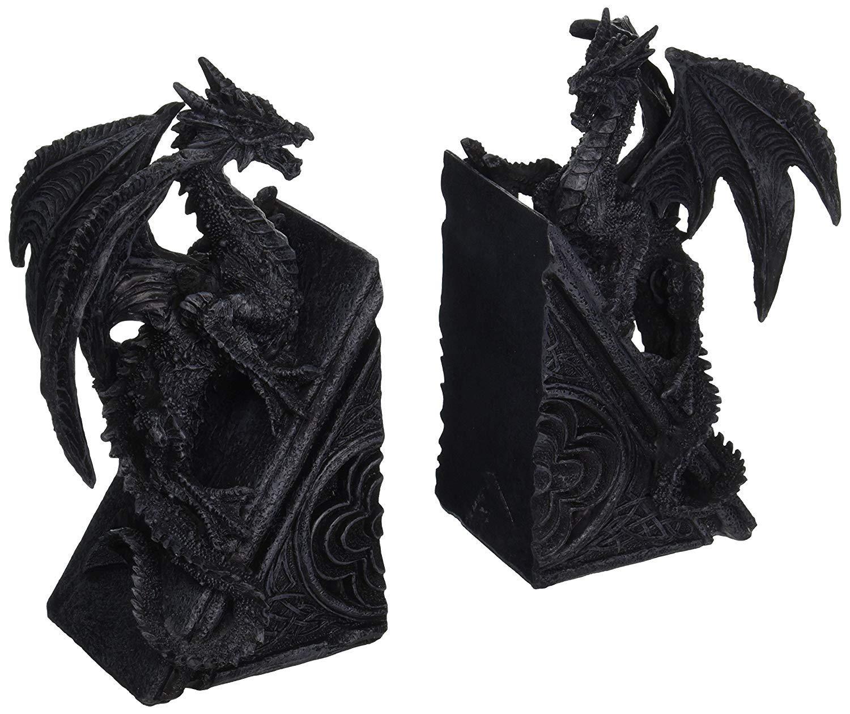 bombayjewel Gothic Dragon Bookends Midieval Book Ends Evil Medieval - Black Dragon Bookends