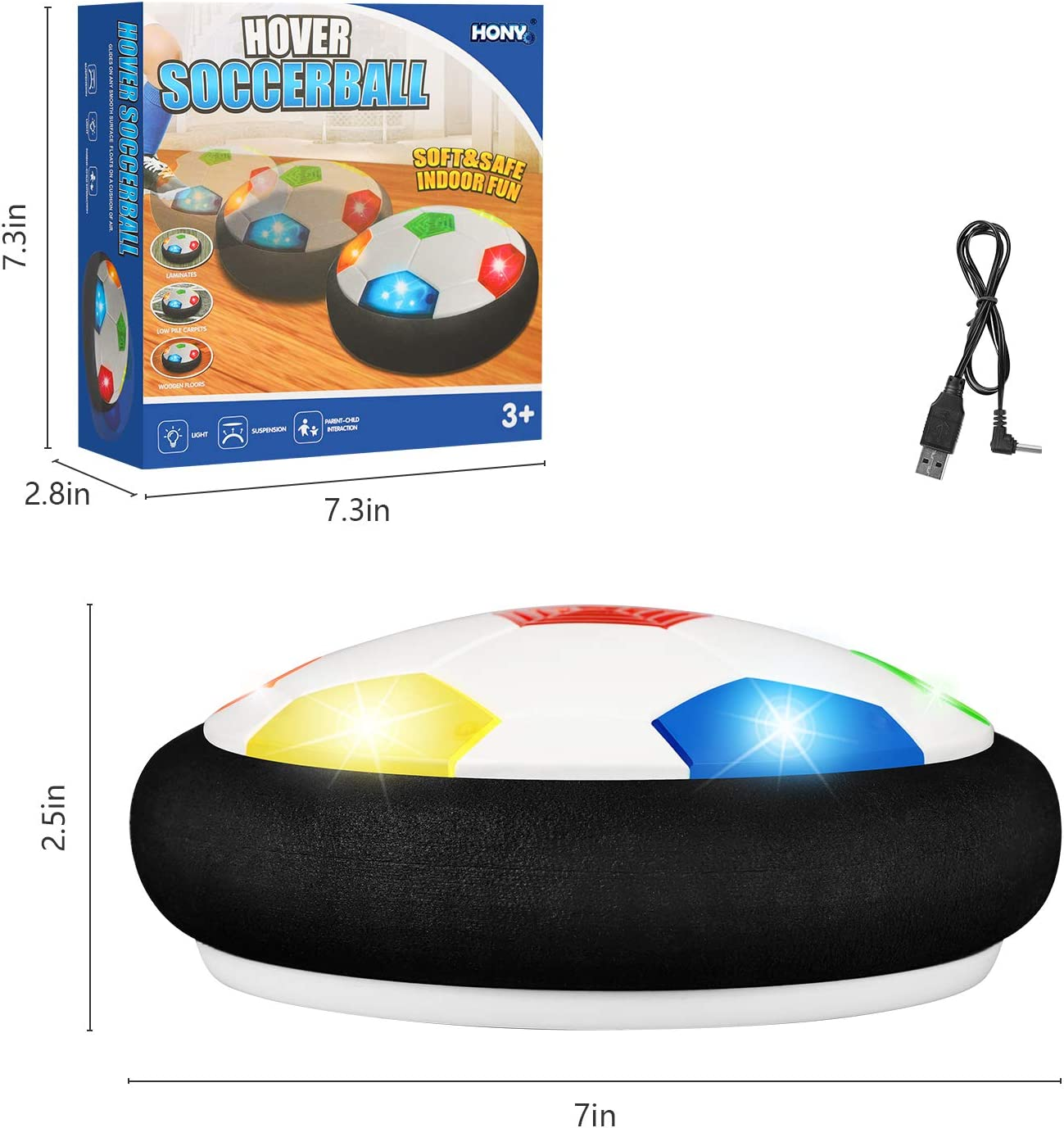 Kids Toys Hover Soccer Ball,Indoor Floating Soccer Rechargeable Air Soccer with Color LED Light and Soft Foam Bumper,Upgrade Training Soccer Toys Gift for Boys Girls Age 3 4 5 6 7 8 9 10 - 16 Year Old: Toys & Games
