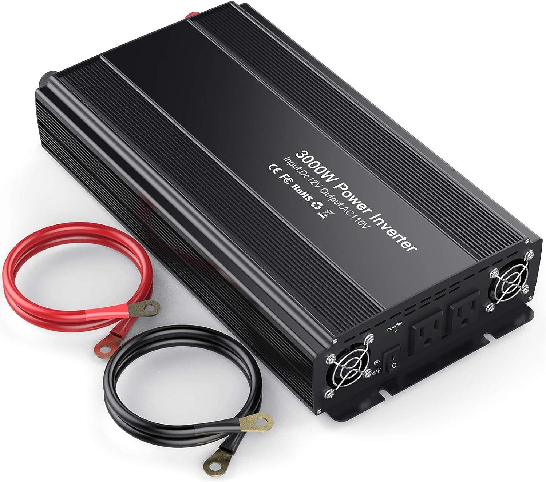 HAITRAL Power Inverter 3000W Modified Sine Wave Inverter 3000 Watt 12 Volt DC to 110 Volt AC Converter with Three Intelligent Temperature Control Fans