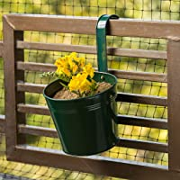 ExclusiveLane 'Emerald Green' Garden and Balcony Decorative Metal Hanging Railing and Table Flower Planter Pot