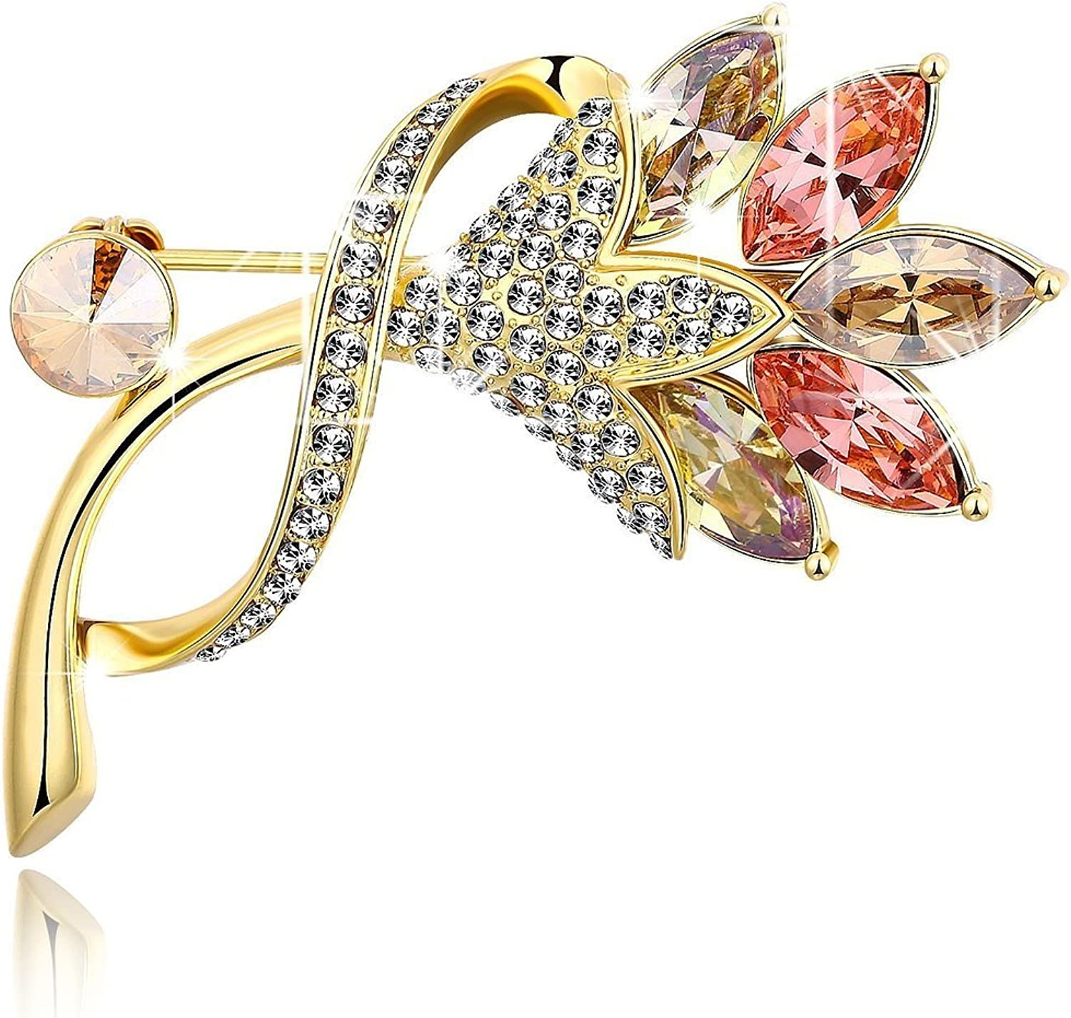 Swarovski Elements Sparkling Blossom Rare Flower Brooch for Women by YELLOW CHIMES