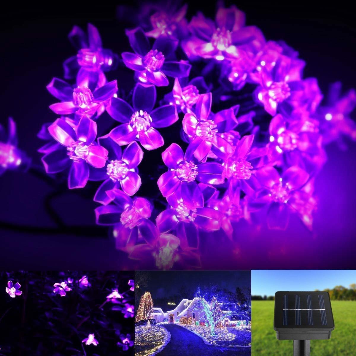 Fishinnen Creativity Light String Solar 50 LED Peach Blossom Light String- Purple