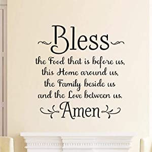 decalmile Kitchen Wall Decals Bless The Food That is Before us Prayer Quotes Wall Stickers Living Room Dining Room Christian Wall Decor