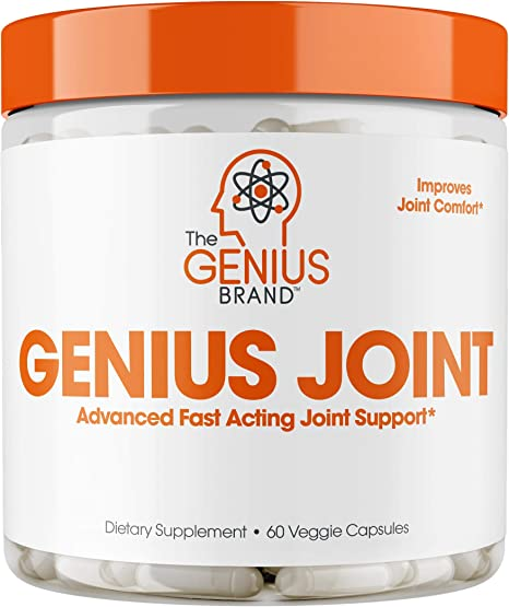 Genius Joint Pain Relief Supplement w/ Collagen & Turmeric for Knee and Back Health, Natural Strength Support for Aches & Soreness 60 Pills/Capsules