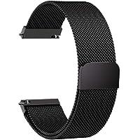 Fullmosa 14mm 16mm 18mm 19mm 20mm 22mm 24mm Bracelet Montre Milanais pour Homme/Femme, 6 Couleurs Smart Watch Bracelet Dégagement Rapide avec Fermeture Magnétique,20mm Noir