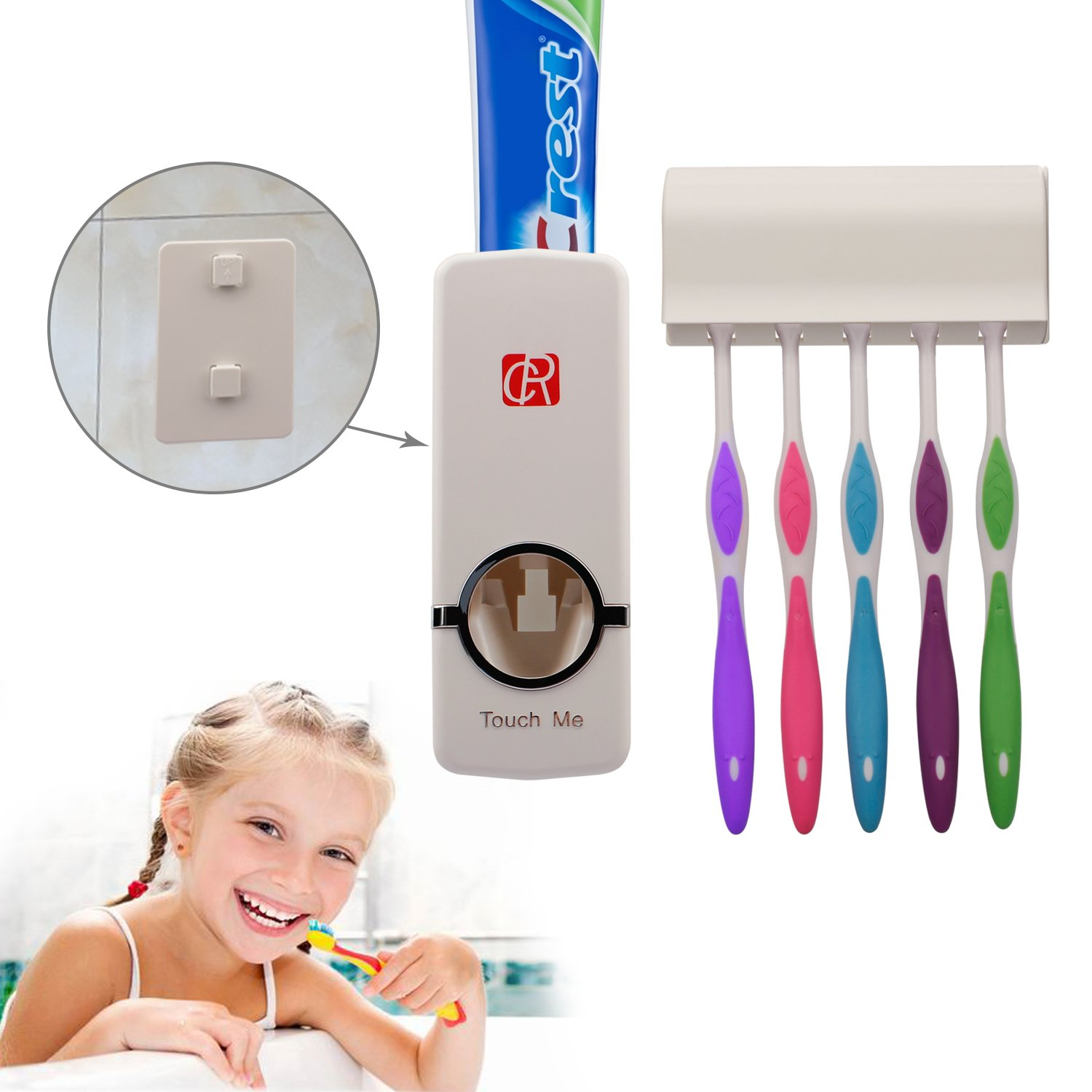 RC Auto Toothpaste Dispenser, Hands Free Toothpaste Squeezer Wall-Mount Toothbrush Holders Bathroom Organizer 2 Hooks, Sticks & Cleaning Brush White