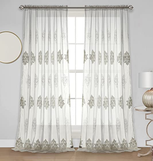 Dreaming Casa Embroidered White Sheer Curtain Semi Floral Voile Window Treatment 102 Inches Long Living Room Drapes Royal European Patter Rod Pocket 2 Panels White 100″ W x 102″ L