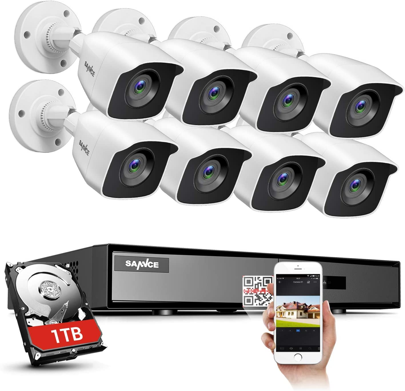 SANNCE 8CH HD-TVI Security Camera System, 1080P Lite CCTV DVR with 1TB Hard Drive and (8) 1080P Outdoor Day/Night Surveillance Cameras, Easy Remote Access Motion Detection,Wired Home Indoor System