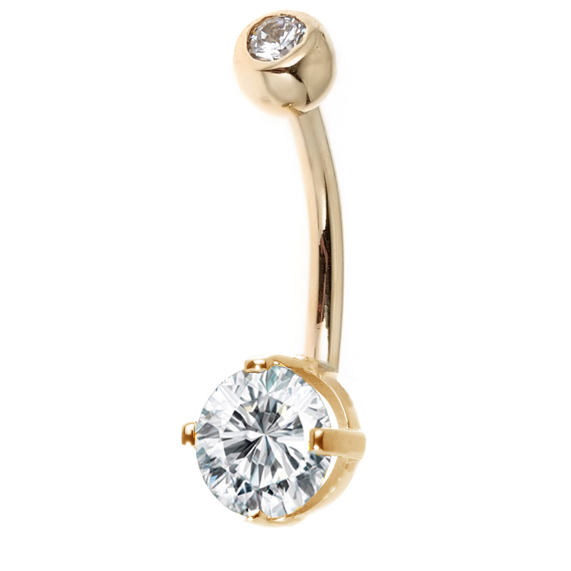 Ritastephens 14k Solid Gold Belly Button Top Bottom Cubic Zirconia Navel Barbell Ring (yellow-gold)
