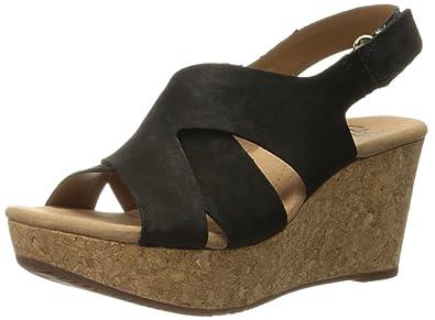 Clarks Women's Annadel Fareda Wedge Sandal, Black Nubuck, ...