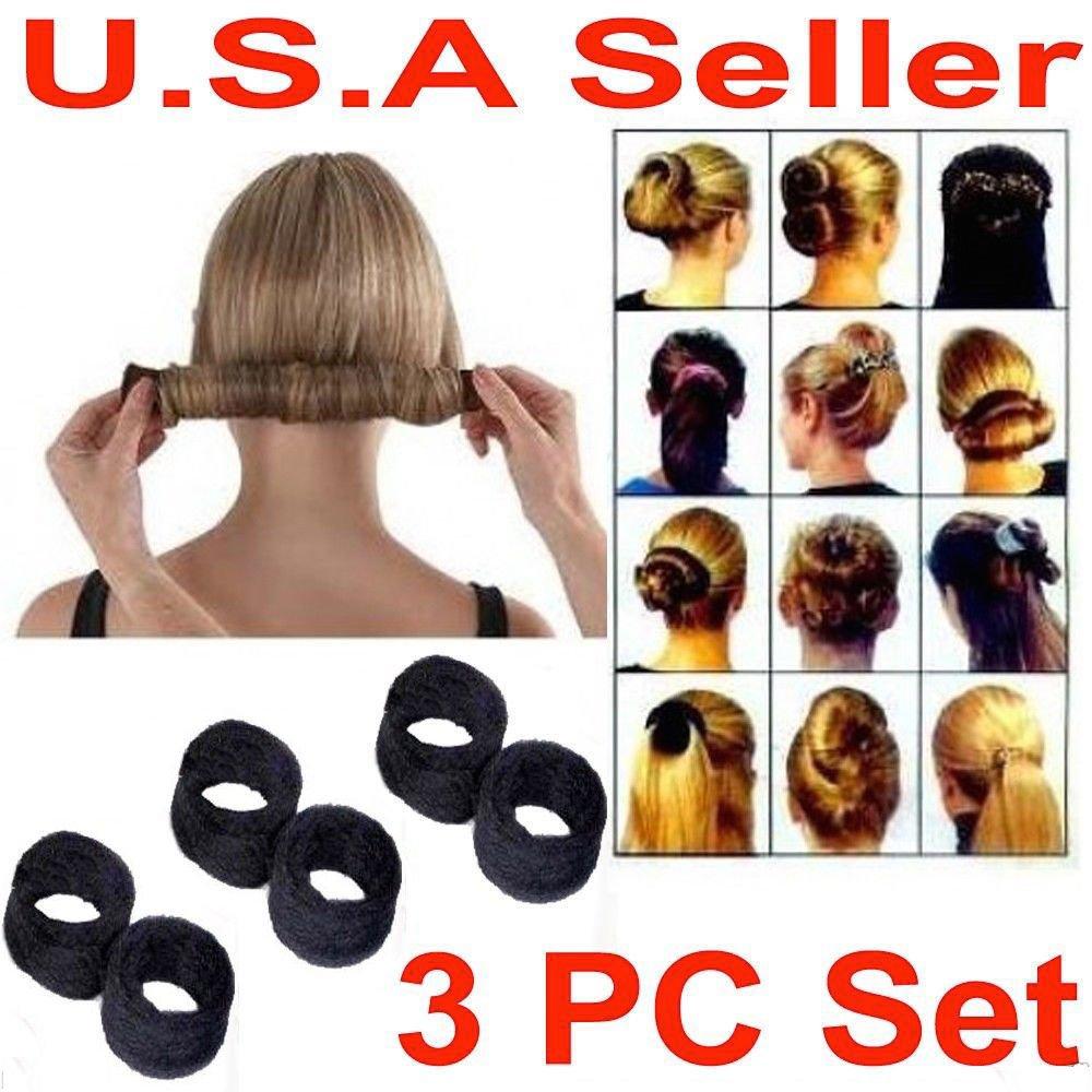SM NEW 3 PCS Hairagami Hair Bun Updo Fold, Wrap & Snap Styling Tool