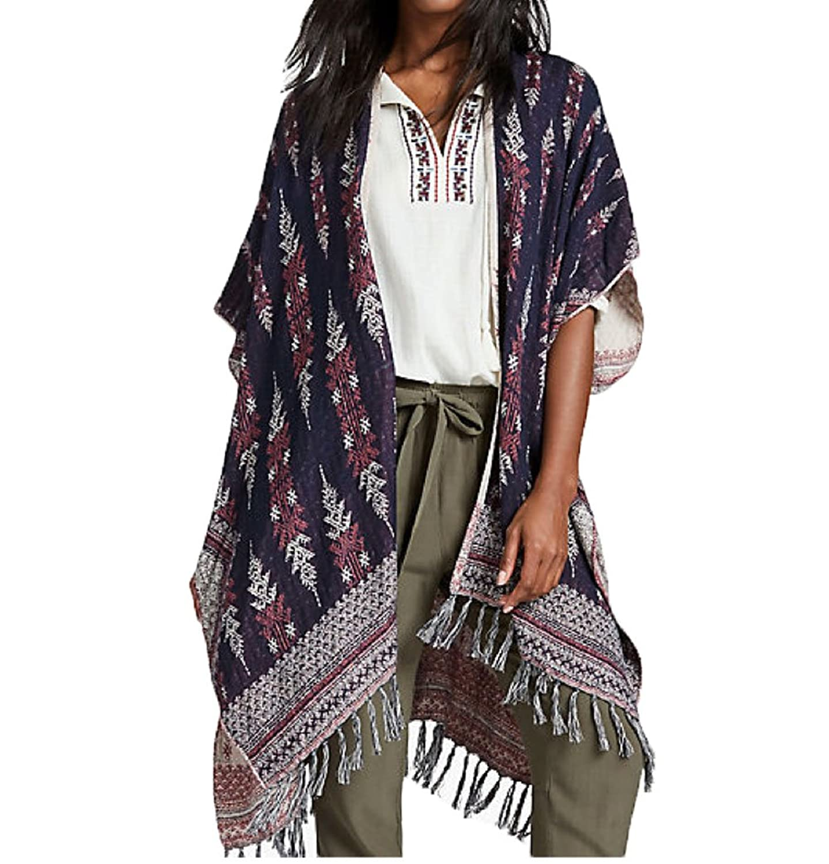 Lucky Brand Women's Reversable Geo Kimono Navy Combo HOS0859