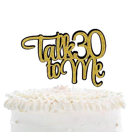 Terrific Talk 30 To Me Happy Birthday Cake Topper Gold Glitter Fabulous Personalised Birthday Cards Veneteletsinfo