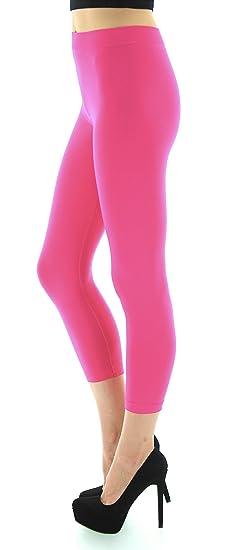7bb6a216bc183b D&K Monarchy Women's Seamless Capri Thin Leggings, Fuchsia, X-Small/Small (