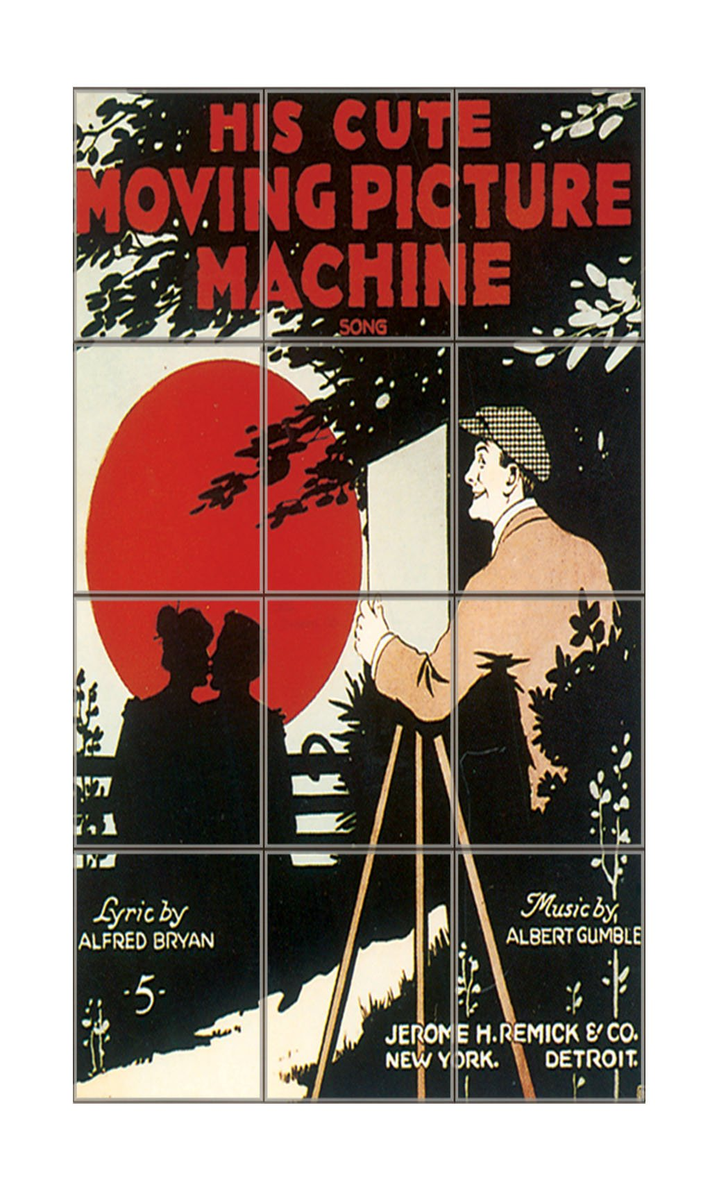 His Cute Moving Picture Machine Poster Vertical Tile Mural Satin Finish 24''Hx18''W 6 Inch Tile