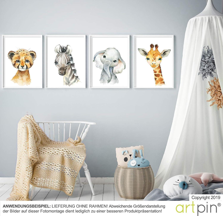 Artpin/® Lot de 4 posters pour chambre denfant Format A4