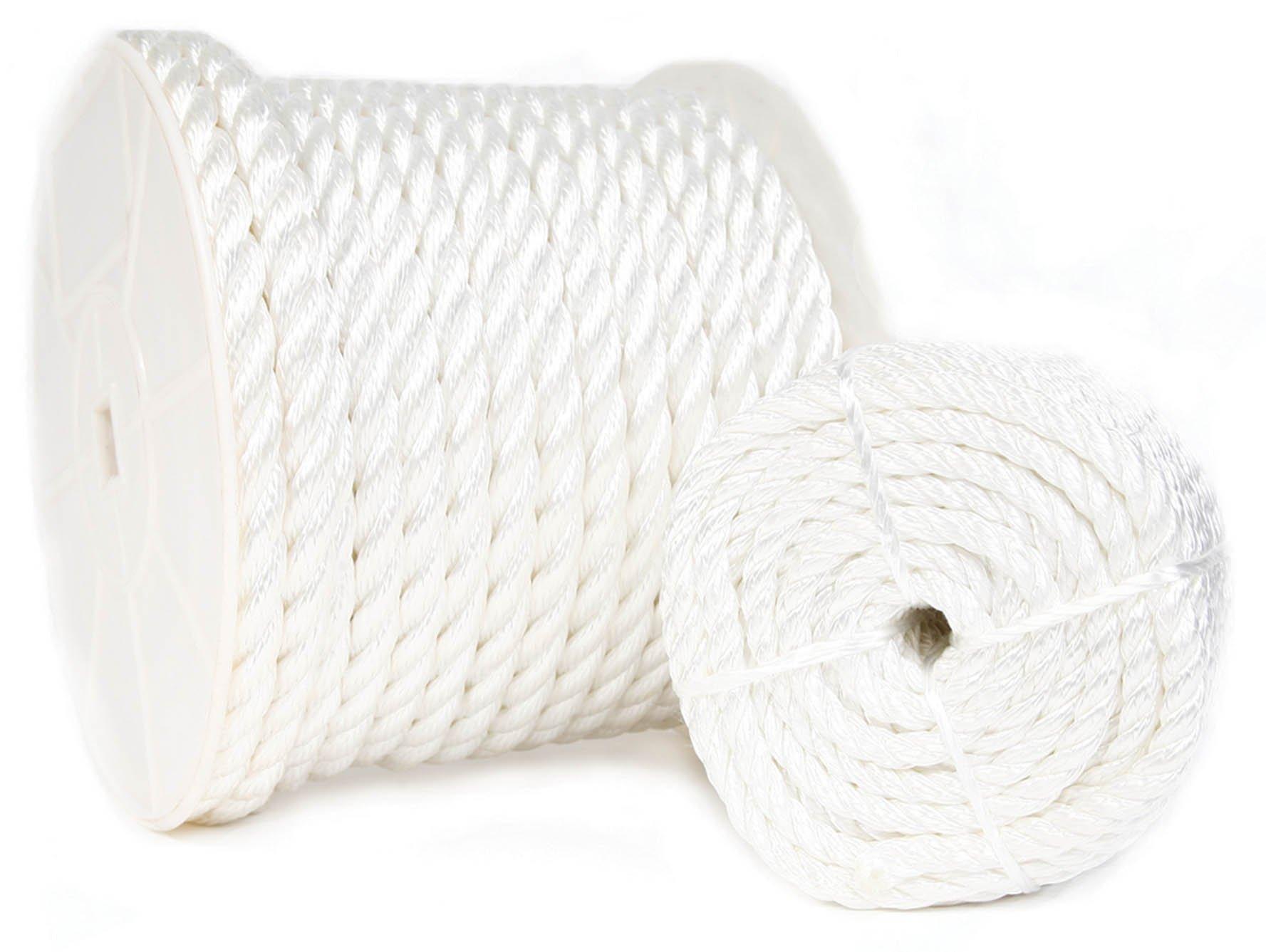 KOCH 5210844 4.5-Inch 1/4 X 300 Twisted Nylon Rope, White