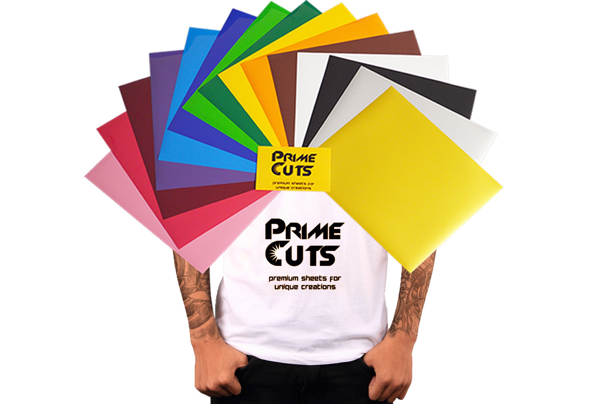 PrimeCuts HTV - 15 Heat Transfer Vinyl Sheets (Color Pack Gold Silver) 12'' x 10'' for T Shirts, Hats, Clothing - Best Iron On HTV Vinyl for Silhouette Cameo, Cricut or Heat Press Machine Tool