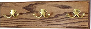"""product image for Oak Wall Mounted Coat Rack with Solid Brass Dual Style Hooks 4.5"""" Ultra Wide (Chestnut, 15"""" x 4.5"""" with 3 Hooks)"""