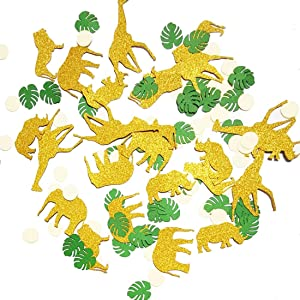 Gold Glitter Jungle Safari Animal Confetti Zoo Boy Baby Shower PartyBirthday Supplies Decorations Table Decor(100 pcs)