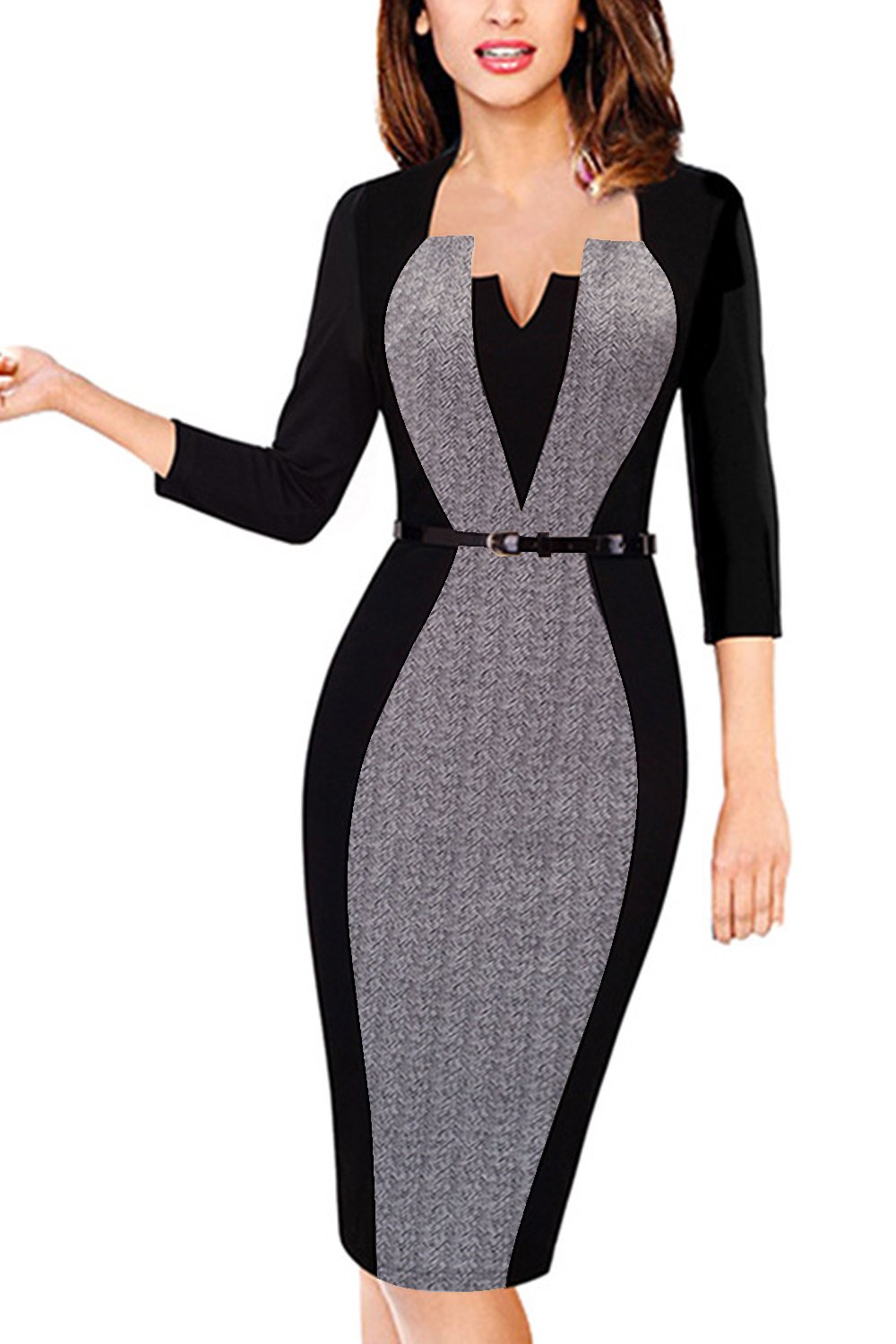 Retro Chic Bodycon Work Dresses Plus Size Belt Women Grey,4XL