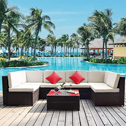Romatlink Patio Rattan Sofa 7-Piece Outdoor Wicker Furniture Outside Conversation Couch Deck Seating, White-1