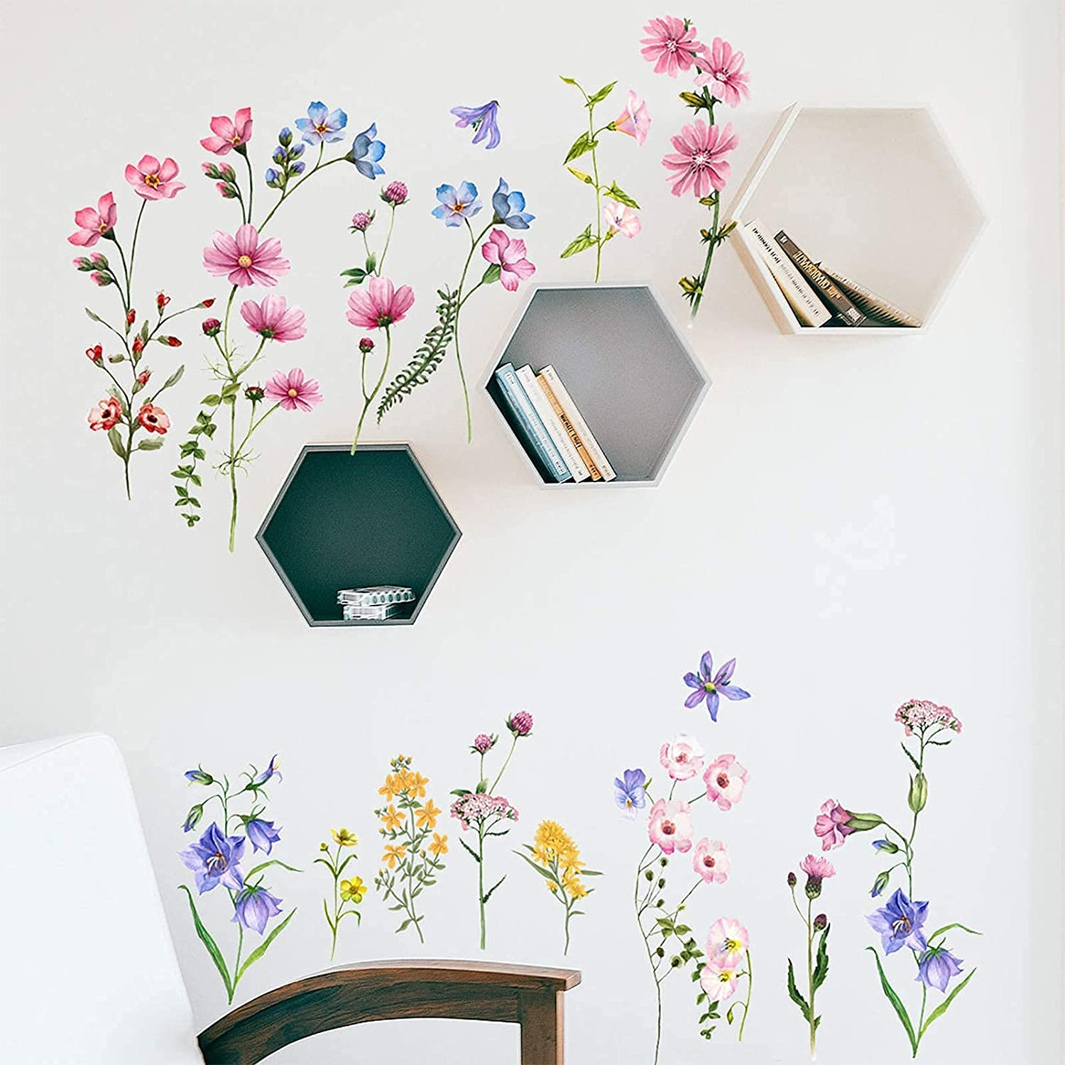 Spring Garden Flower Wall Decals, DILIBRA Bright Spring Floral Wall Sticker, Removable Peel and Stick DIY Art Vinyl Wallpaper for Baby Nursery Girls Bedroom Classroom Wall Decor (flower1)