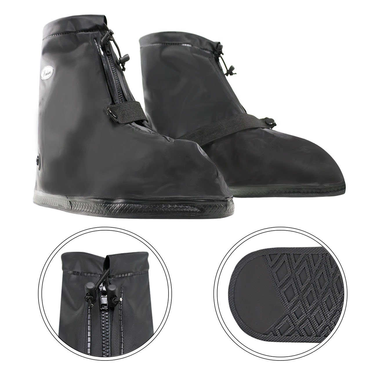 Life-C Black Waterproof Snow Rain Shoes Covers Women Men XXXXL by Life-C (Image #3)