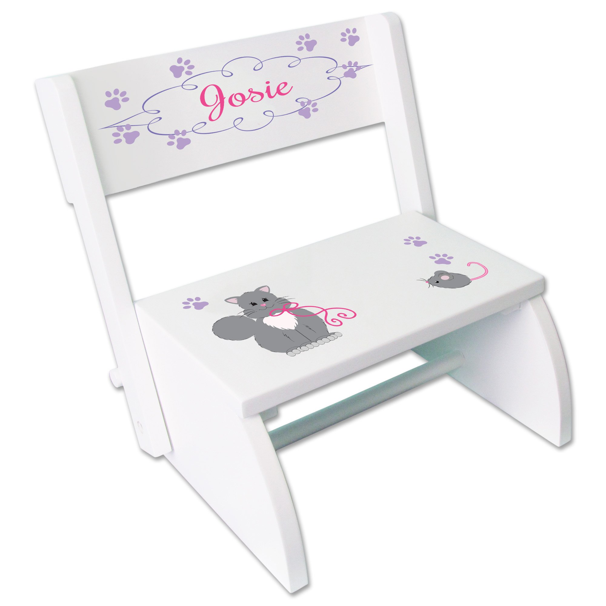 Personalized Panda Bear Childrens and Toddlers White folding stool