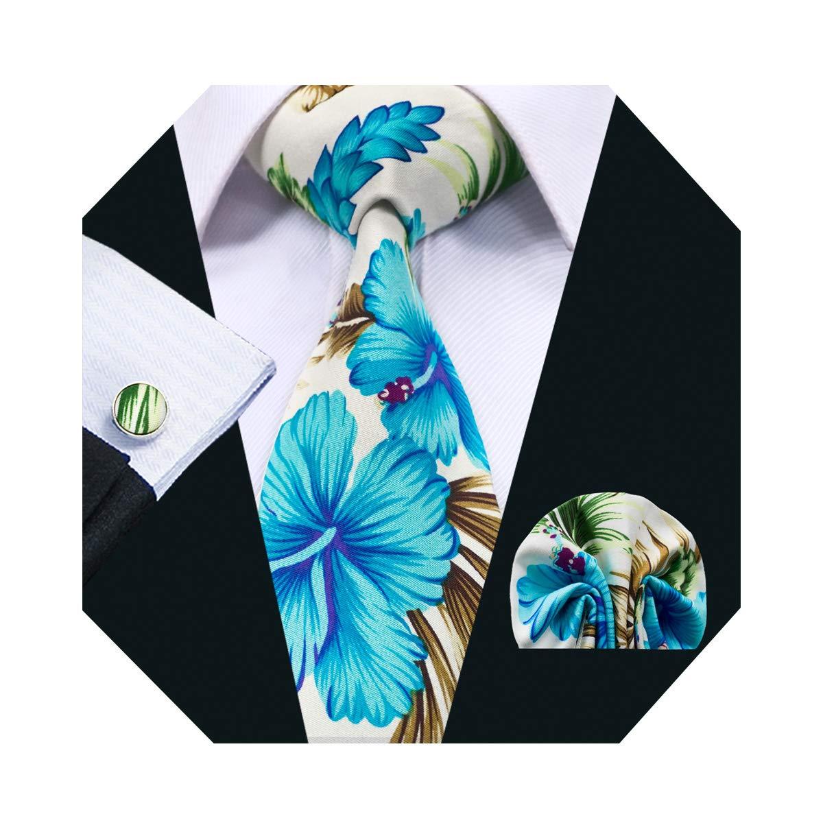 DiBanGu Cotton Necktie Men's Floral Tie and Pocket Square Cufflinks Tie Clip Set Wedding Ties MB-1338