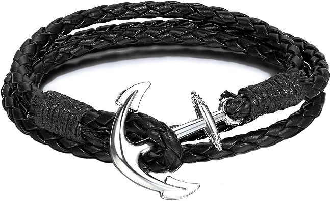 Brazalete negro con una ancla náutica plateada y cuerda de paracaídas | Brazalete de cuerda con ondas y con anclas: Amazon.es: Joyería