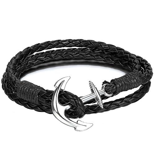 offizielle Fotos 4d954 c2323 Beyond Dreams Anker Armband aus Leder in schwarz   Lederarmband als Männer  Schmuck   Herrenarmband für Herren   Armbänder für Frauen   Unisex ...