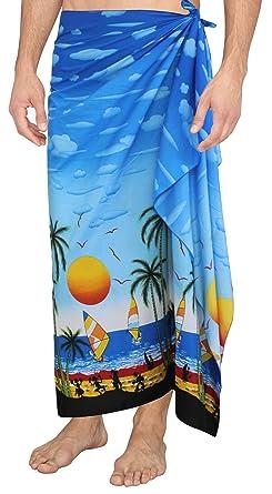 cdc64fbdd9f83 LA LEELA Soft Light Printed Swimsuit Wrap Pareo Mens 72