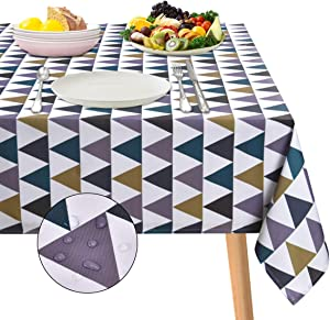 """ASPMIZ Colorful Triangle Tablecloth, Geometric Table Cloth for Rectangle Tables, Simple Style Waterproof Tablecloth for Kitchen Dining Room, Tablecloth Rectangle 60"""" x 84"""""""