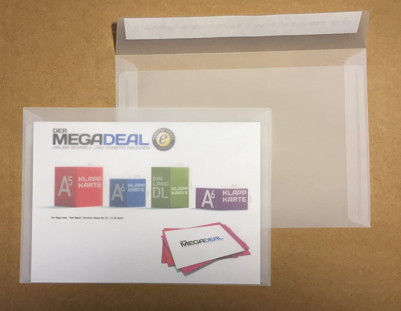 25 sobres transparentes, C5 = 229 x 162 mm, cierre autoadhesivo con tira, 100 g/m² 100 g/m² DerMegaDeal OT-20950