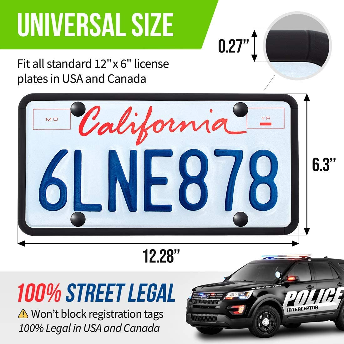 Rust-Proof GERCHWAY Silicone License Plate Frame Black Rattle-Proof Universal American Car License Plate Holder with Screws and Covers