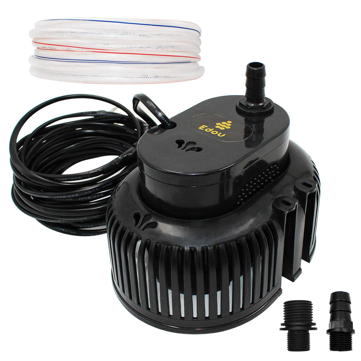 EDOU 850 GPH Swimming Pool Cover Pump Above Ground,Including 16' Drainage Hose and 3 Adapters,Ideal for Water Removal,Black