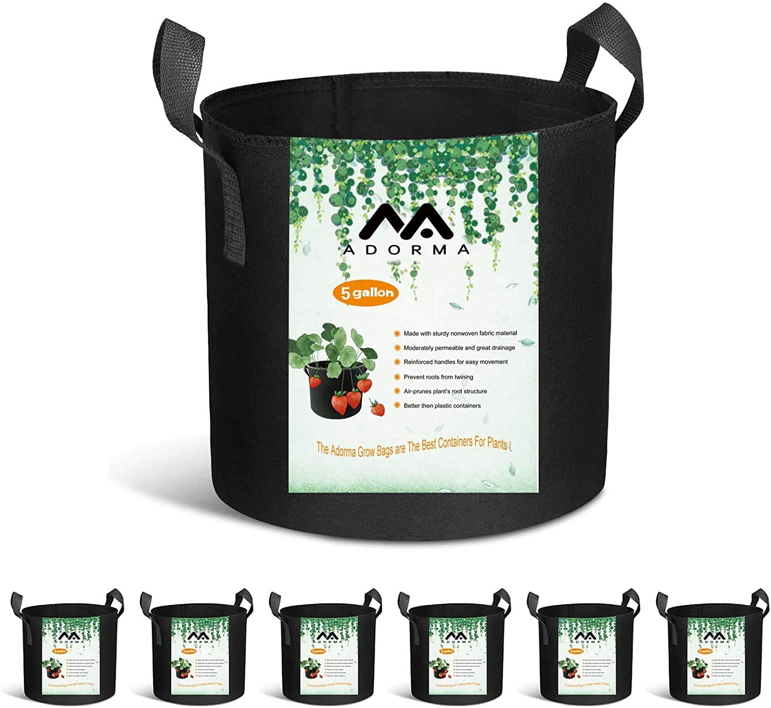 Adorma 6-Pack 5 Gallon Grow Bags, Heavy Duty Fabric Pots with Handles,300G Thickened Nonwoven Pots for Plants