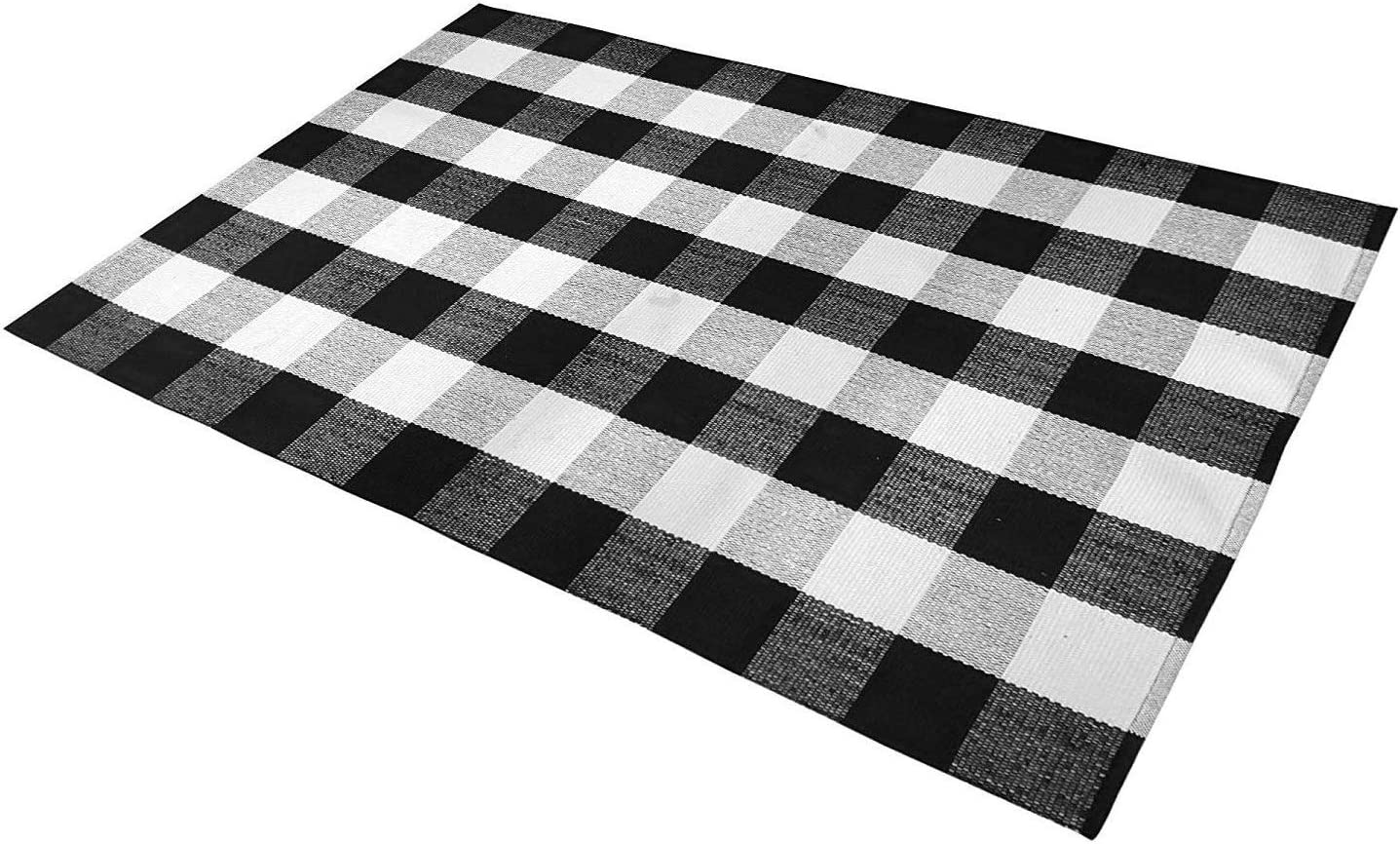 Buffalo Check Rug Black/White Plaid Rugs Cotton Washable Hand-Woven Outdoor Rugs for Layered Welcome Door Mat/Porch/Kitchen/Farmhouse (3' x 5', Black&White)