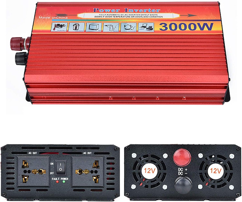 Gxnimer Inversor de energía de Onda sinusoidal Pura de 3000 W CC 12 V / 24 V a CA 110 V-120 V Potencia máxima 6000 W para el Sistema Solar de Emergencia del camión RV en el hogar,24v,220V