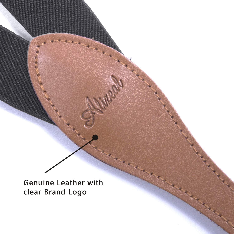 Men Suspenders 4 Clips Genuine Leather Braces Y Back Heavy Duty Navy