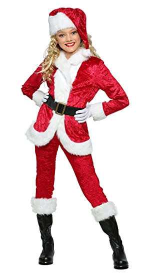 COSKING Father Christmas Costume for Girls, Deluxe Kids Halloween Santa  Claus Cosplay Outfit (Tag - Amazon.com: COSKING Father Christmas Costume For Girls, Deluxe Kids