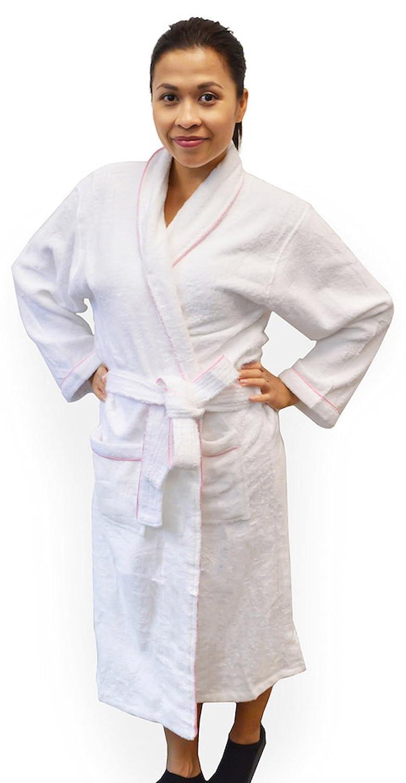 De la Mujer Ropa de Dormir Albornoz baño Spa bata tocador blanco 100% algodón grande: Amazon.es: Hogar