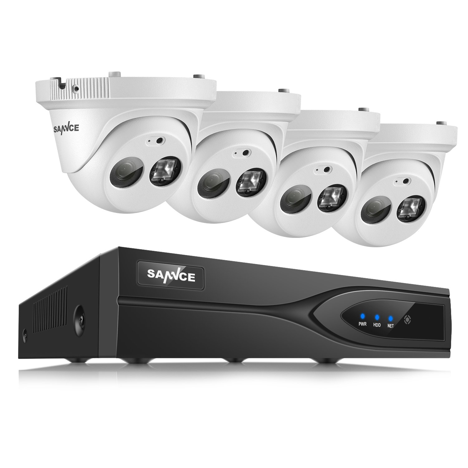 SANNCE 8 CH 1080P POE NVR Security Camera System and 1080P IP Camera 2MP HD Mini Dome Network Camera with Built-in Microphone for Clear Audio Array LED for 100ft/30m night vision