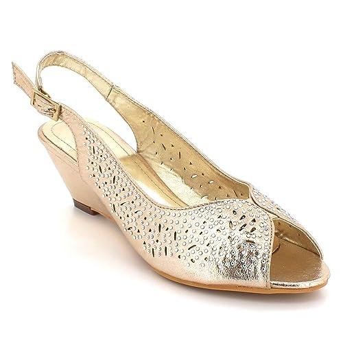4395e6e997 Mujer Señoras Diamante Peeptoe Noche Fiesta Boda Paseo Nupcial Cristal Cuña Tacón  Sandalias Zapatos tamaño  Amazon.es  Zapatos y complementos