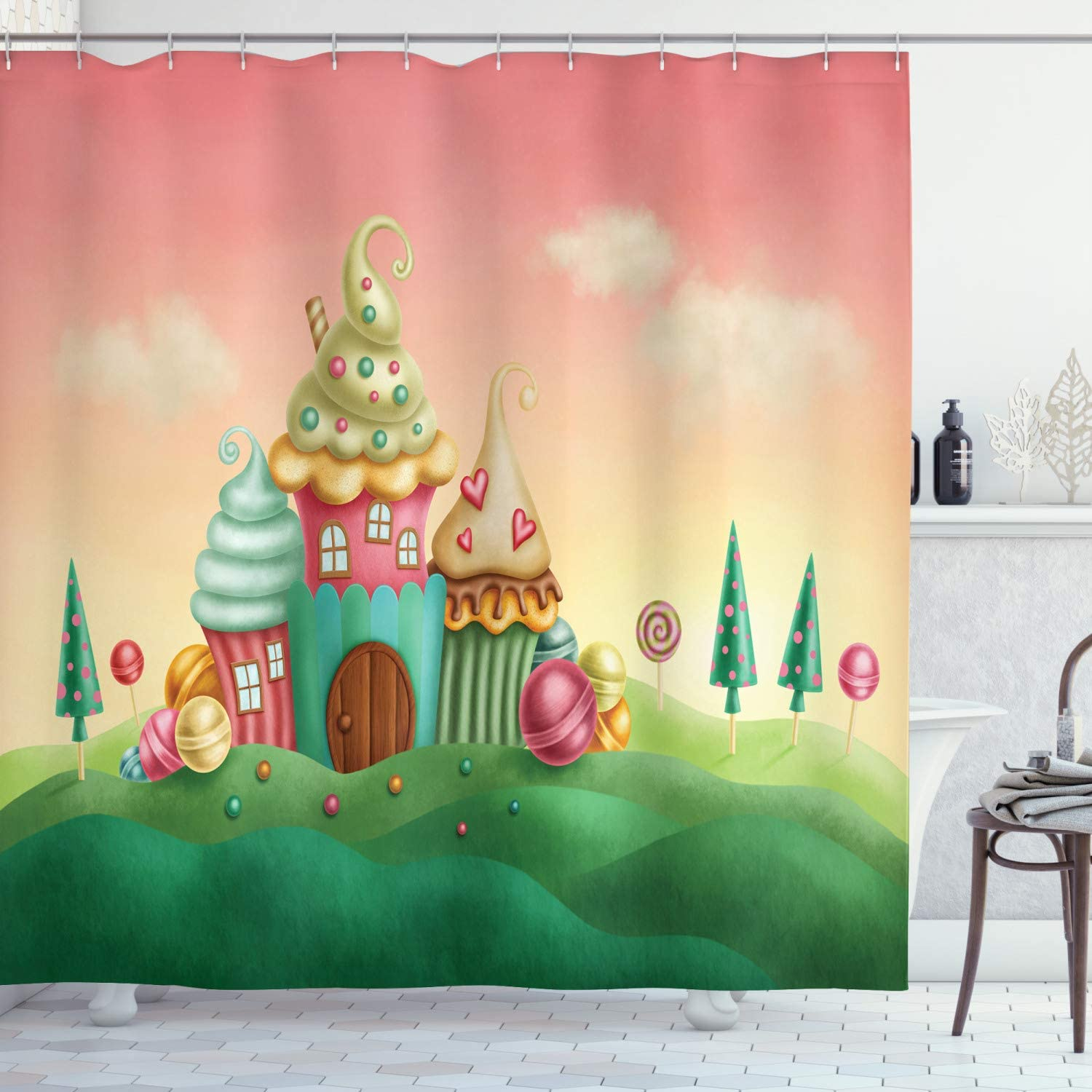 "Ambesonne Feminine Shower Curtain, Fantasy Houses from Cupcakes Candy and in Grassland Children Artwork, Cloth Fabric Bathroom Decor Set with Hooks, 70"" Long, Coral Green"
