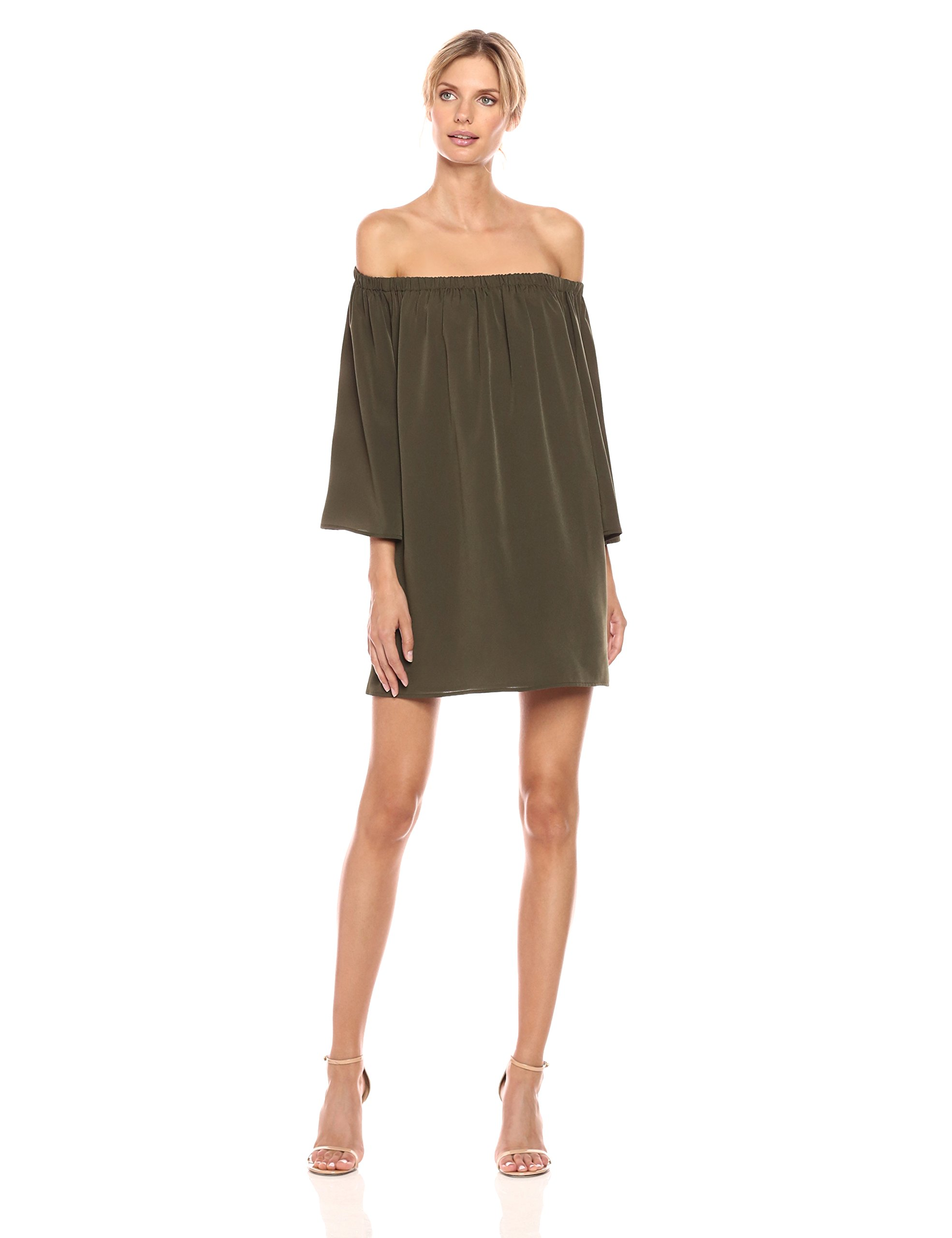 French Connection Women's Summer Crepe Light Ls OTS Dress, Woodland Green, XS